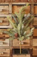 """16"""" Faux Frosted White Spruce and Pinecone Spray"""