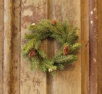 """4.5"""" Opening Faux White Spruce and Pinecone Candle Ring"""