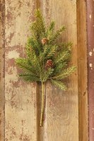 """16"""" Faux White Spruce and Petite Pinecone Spray"""