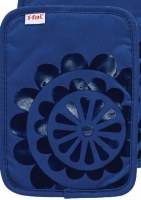 "9"" T-Fal Blue Cotton and Silicone Medallion Pot Holder"