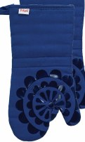 "13"" T-Fal Blue Cotton and Silicone Medallion Oven Mitt"