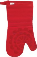 "13"" T-Fal Red Cotton and Silicone Medallion Oven Mitt"