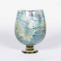 "14"" Blue and Beige Artisan Finish Glass Footed Urn"