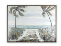 "31"" x 41"" Blue and Brown Two Palm Beach Path Framed Embellished Acrylic Wall Art"