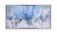 "32"" x 62"" Blue Music Waves Framed Embellished Canvas Wall Art"