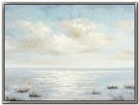 """36"""" x 48"""" Light Blue Ocean Meets Sky Framed Canvas Wall Art"""