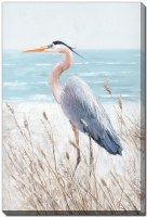 "36"" x 24"" Blue Heron Watch Embellished Canvas Wall Art"