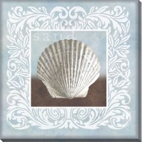 "16"" Square Light Blue and White Sand Scallop Shell Embellished Canvas Wall Art"