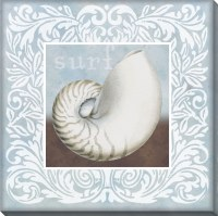 "16"" Square Light Blue and White Surf Nautilus Embellished Canvas Wall Art"