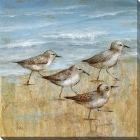 "16"" Square Blue and Tan Four Sandpipers Embellished Canvas Wall Art"
