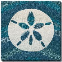 "18"" Square Sand Dollar on Teal and Blue Dots Embellished Canvas Wall Art"