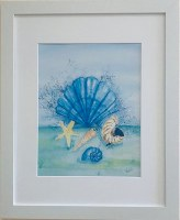"22"" x 18"" Blue Scallop Shell Sea Life White Framed Wall Art"