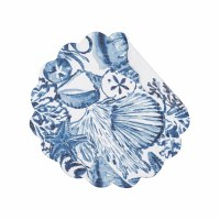 "17"" Round White and Blue Coast Shells Reversible Scallop Placemat"
