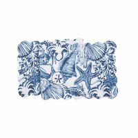 """14"""" x 51"""" White and Blue Coast Shells Quilted Table Runner"""