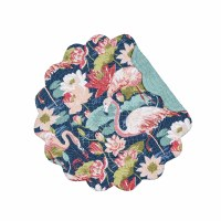 "17"" Round Blue and Pink Flamingo Lagoon Scallop Placemat"