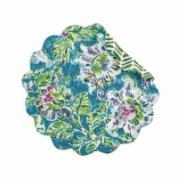 "17"" Round Purple, Green and Blue Tropical Garden Reversible Scallop Placemat"