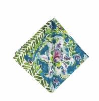 "20"" Square Purple, Green and Blue Tropical Garden Cloth Napkin"