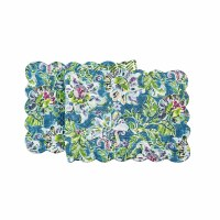 """14"""" x 51"""" Purple, Green and Blue Tropical Garden Quilted Table Runner"""