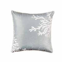 "18"" Square Seafoam Green With Silver Thread Coral Pillow"
