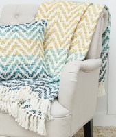 "50"" x 60"" Blue and Yellow Chevron Throw With White Fringe"
