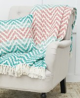 "50"" x 60"" Coral and Green Chevron Throw With White Fringe"