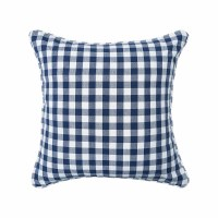 "18"" Square Indigo Gingham Woven Pillow"