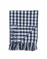 "50"" x 60"" Indigo Gingham Woven Cotton Throw"