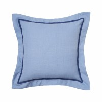 "18"" Square Pacific Blue Flange Pillow With Navy Border"