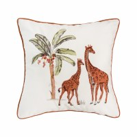 "18"" Square Giraffe Safari Pillow With Tan Piping"