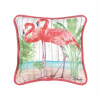 "8"" Square Flamingo Paradise Pillow With Pink Piping"