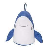 """10"""" Blue and White Shark Door Stop With Handle"""