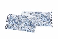 """14"""" x 72"""" Navy and White Floral Pattern With Navy Fringe Table Runner"""