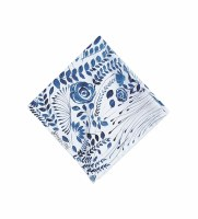 """18"""" Square Navy and White Floral Pattern Cloth Napkin"""