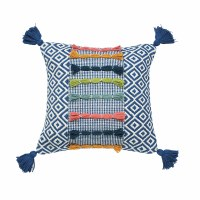 "22"" Square Navy Diamond Pattern Pillow With Multicolor Yarn Stripes"