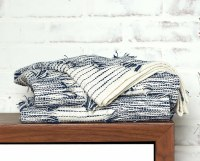 "50"" x 60"" Navy and White Distressed Woven Cotton Throw"