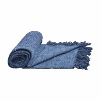 "50"" x 60"" Distressed Denim Blue Cotton Slub Throw"