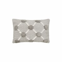 "14"" x 22"" Gray and White Tufted Lumbar Pillow"