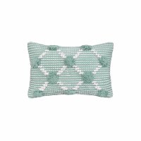 "14"" x 22"" Aqua and White Tufted Lumbar Pillow"