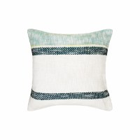 "22"" Square Navy and Aqua Striped Woven Pillow"