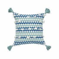 "22"" Square Blue and Aqua Zigzag Woven Pillow With Corner Tassels"