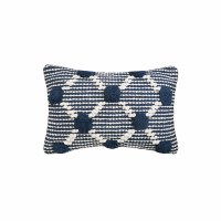 "14"" x 22"" Navy and White Tufted Lumbar Pillow"