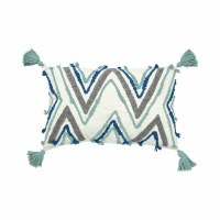 "14"" x 22"" Blue, Gray and Aqua Chevron Pillow With Corner Tassels"