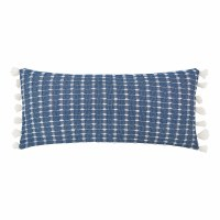 "15"" x 35"" Indigo and White Textured Pillow With White Tassels"