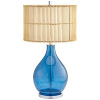 "31"" Blue Glass Lamp With Round Rattan Shade"