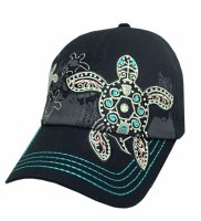 Black Bling Turtle With Turquoise Stitching Hat
