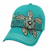 Turquoise With Black Bling Turtle Hat