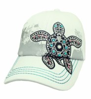 White With Black Bling Turtle Hat