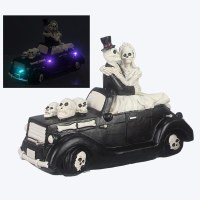 "5"" LED Skeleton Bride and Groom in Black Skull Convertible"