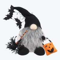 """10"""" Trick or Treat Gnome With Broom and Pumpkin Bag"""