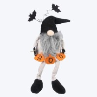 """16"""" Boo Gnome Shelf Sitter With Pumpkin Banner and Flying Bats"""